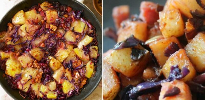 жаркое из картофеля и красной капусты